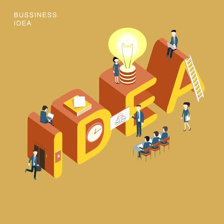 flat 3d isometric design of business idea concept