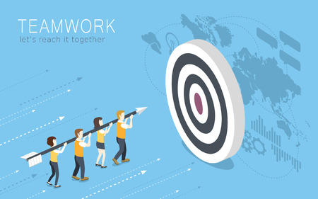 Illustration for flat 3d isometric design of teamwork concept - Royalty Free Image