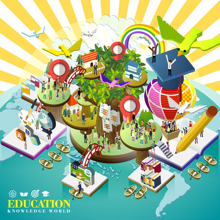 Foto de flat 3d isometric design of education over world concept - Imagen libre de derechos