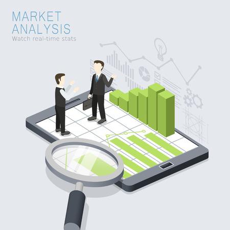 flat 3d isometric design of market analysis concept