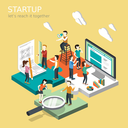 Illustration pour flat 3d isometric design of business startup concept - image libre de droit