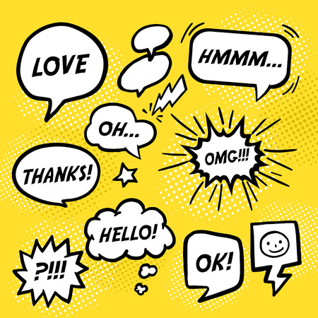 Illustration for simplicity comic speech bubbles set over yellow background - Royalty Free Image