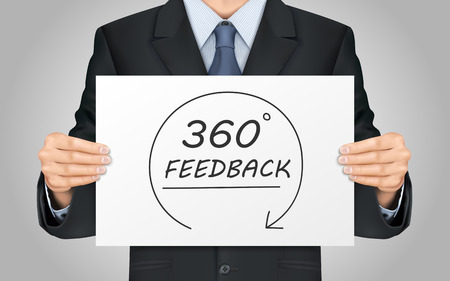 Illustration pour close-up look at businessman holding 360 feedback content poster - image libre de droit