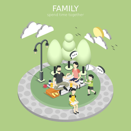 family having a picnic concept in flat 3d isometric graphic