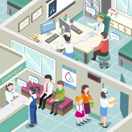 flat 3d isometric design of medical clinic interior