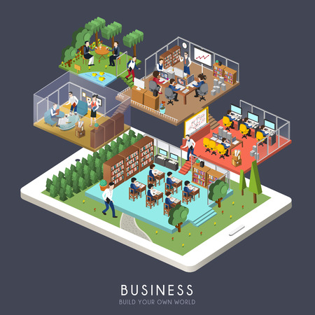 flat 3d isometric design of business concept