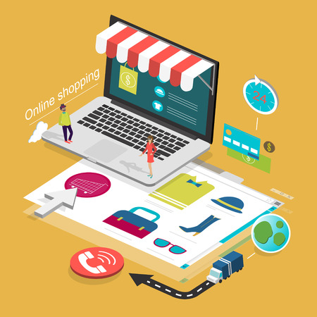 flat 3d isometric design of online shopping concept
