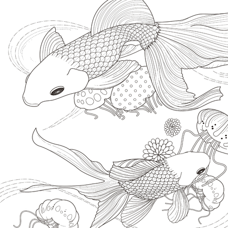 Two Koi Coloring Illustration