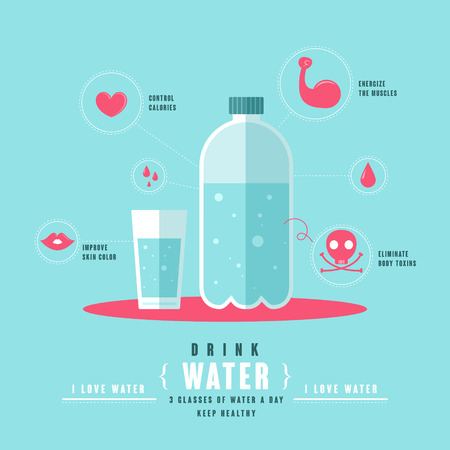 healthy concept of drinking water in flat design