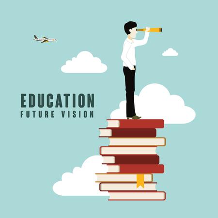 Illustration pour education future vision in flat design style - image libre de droit