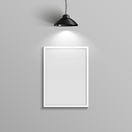 elegant blank canvas with illumination over grey wall