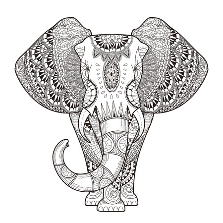Graceful Elephant Coloring Illustration