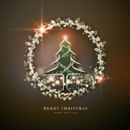 gorgeous Merry Christmas poster design with glowing tree