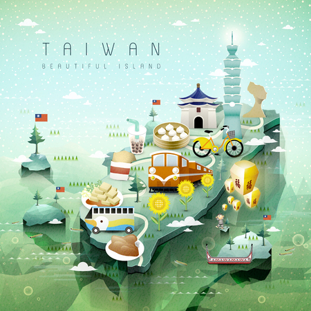 Foto de fantastic Taiwan attractions and dishes travel map in 3d isometric style - Imagen libre de derechos