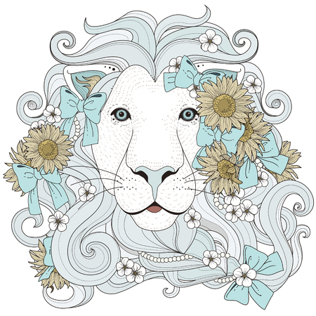 lovely lion with flowers coloring page in exquisite style