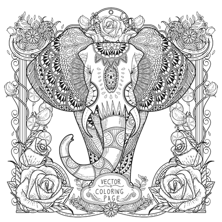 splendid elephant coloring page in exquisite style