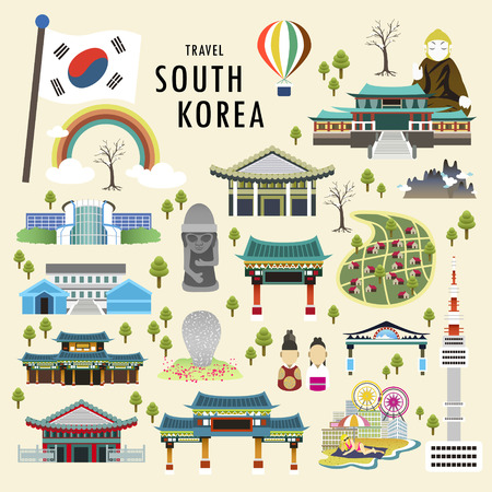 lovely South Korea attractions collection in flat style