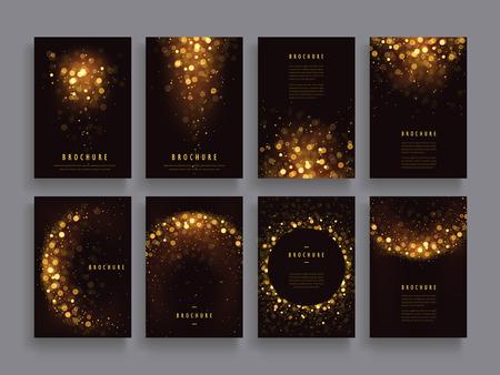 Illustration pour gorgeous brochure template design set with glitter paillette elements - image libre de droit