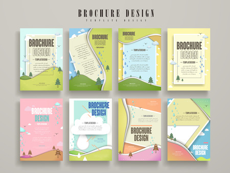 lovely brochure template design set with nature scenery
