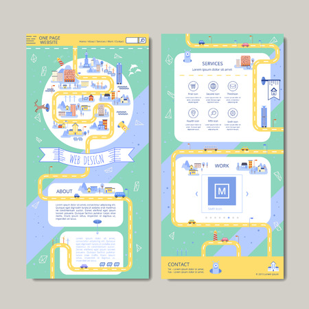 adorable one page web design in flat style