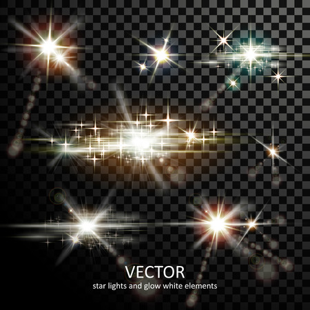 attractive light sparkles collection on transparent background