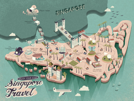 lovely Singapore must see attractions travel map in 3d isometric design