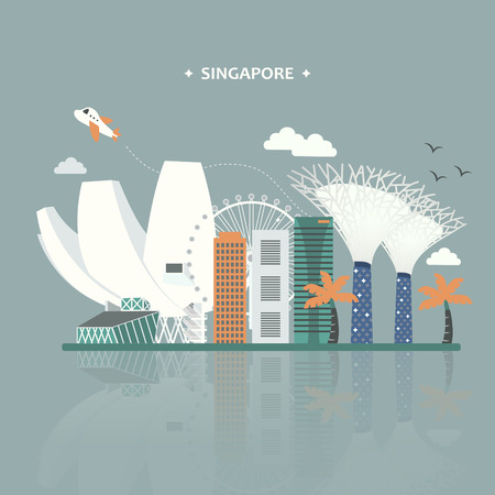 Singapore travel attractions poster design in flat style