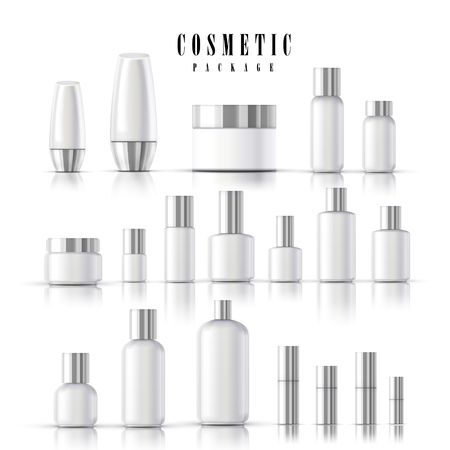 blank cosmetic package collection set isolated on white background