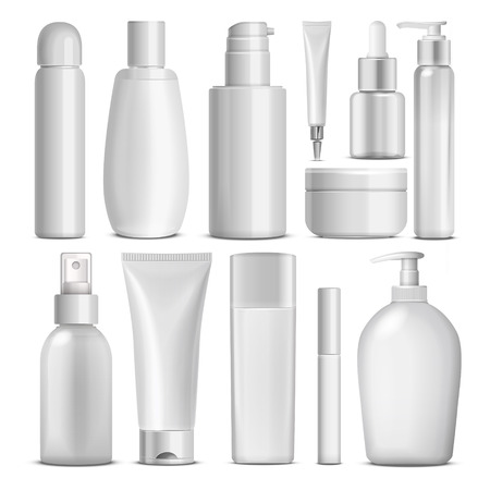 Illustration pour blank cosmetic package collection set isolated on white background - image libre de droit
