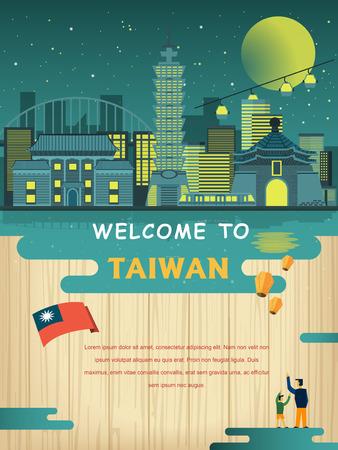 Foto de lovely Taiwan travel poster design in flat style - Imagen libre de derechos