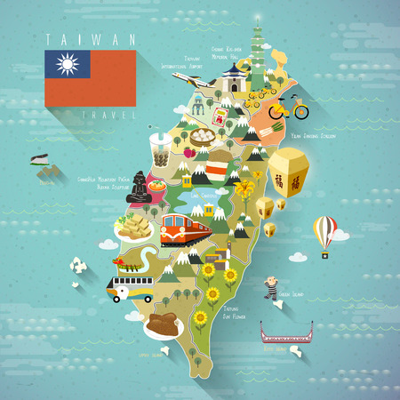 Illustration pour lovely Taiwan travel map  -  blessing word in chinese on the sky lantern - image libre de droit