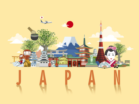 Illustration for wonderful Japan travel poster design in flat style - Royalty Free Image