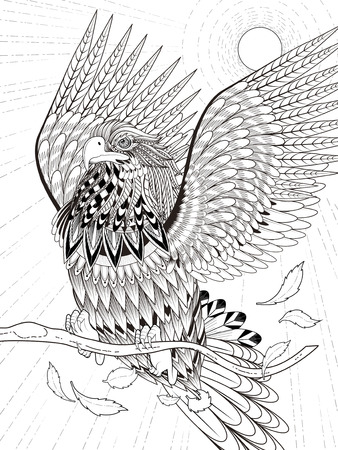 Soaring Bald Eagle coloring page | Free Printable Coloring Pages | 450x338