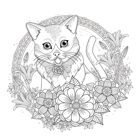adorable kitty coloring page with floral wreath in exquisite line