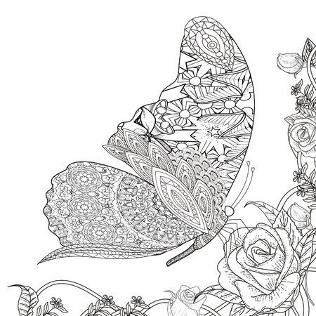 Ilustración de beautiful butterfly with floral elements coloring page in exquisite line - Imagen libre de derechos