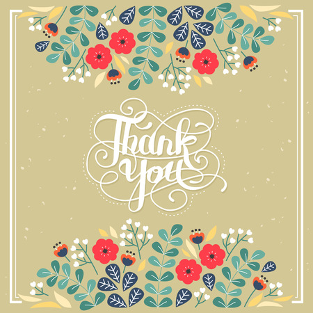 Illustration for elegant Thank you decorative calligraphy poster design with floral elements - Royalty Free Image