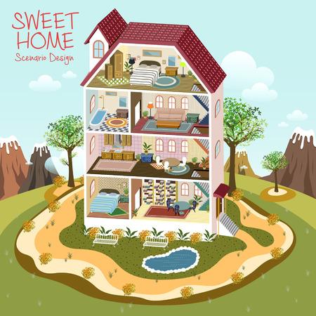 Illustration pour lovely sweet home scenario design in 3d isometric flat style - image libre de droit