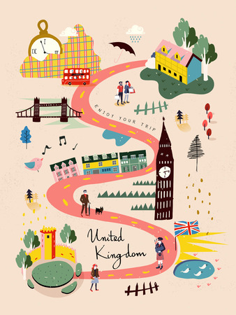 Ilustración de adorable United Kingdom travel map in hand drawn style - Imagen libre de derechos