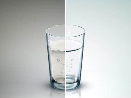 Illustration pour comparison of two glasses of water - 3D illustration - image libre de droit
