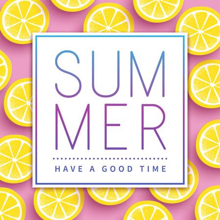 Trendy summer poster design - sliced citrus over pink background