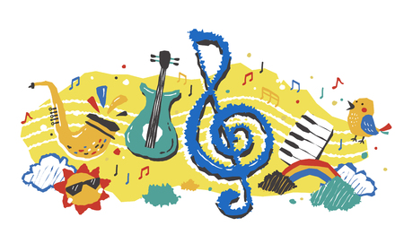 cute and colorful element of music and instrument
