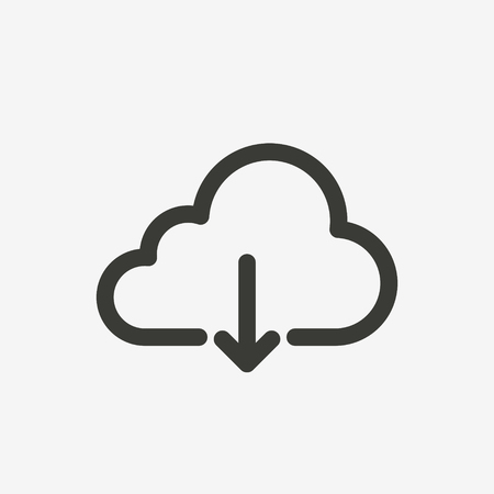 download cloud icon of brown outline for illustration