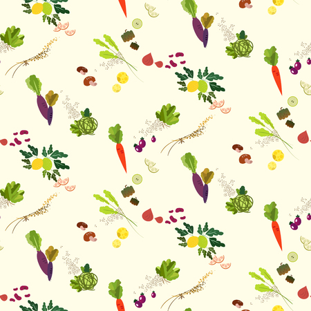 Illustration pour Lovely vegetables and fruit seamless pattern design - image libre de droit