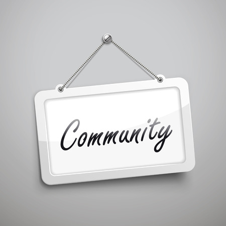 community hanging sign, 3D illustration isolated on grey wall