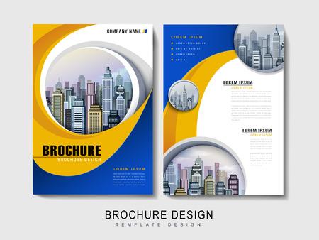 Ilustración de Flyer or Cover Design with urban city landscape and curved line element - Imagen libre de derechos