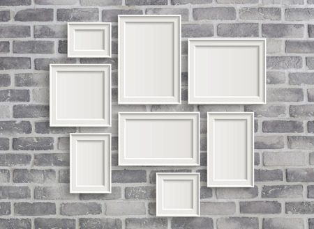 Foto de 3D illustration of blank frames isolated on old grey brick wall - Imagen libre de derechos