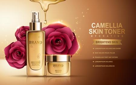 Illustration pour camellia skin toner contained in sprayer bottle and cosmetic jar, golden background, 3d illustration - image libre de droit