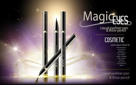 Illustration pour Eyeliner pen ads, cosmetic product template with glitter purple background, 3d illustration - image libre de droit