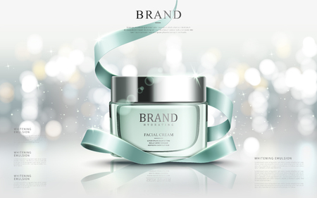 Ilustración de Graceful cosmetic ads, hydrating facial cream for annual sale or christmas sale. Turquoise cream mask bottle isolated on glitter particles with elegant ribbon. 3D illustration. - Imagen libre de derechos