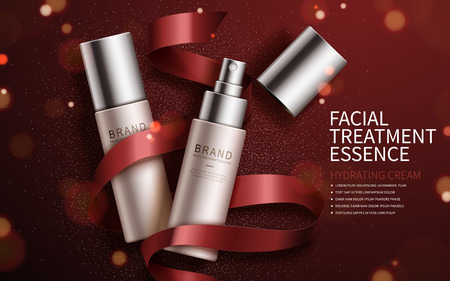 Ilustración de Exquisite cosmetic ads, facial treatment essence set for annual sale or christmas sale. Red ribbon and particles elements. 3D illustration. - Imagen libre de derechos